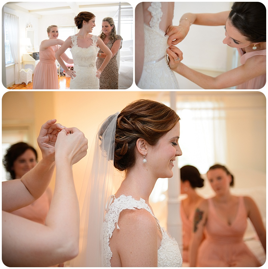 Bride Getting Dressed - The Cottage House - Lord Thompson Mannor
